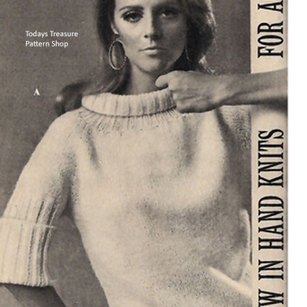 Vintage Ribbed Turtleneck pattern with Elbow Length Sleevves