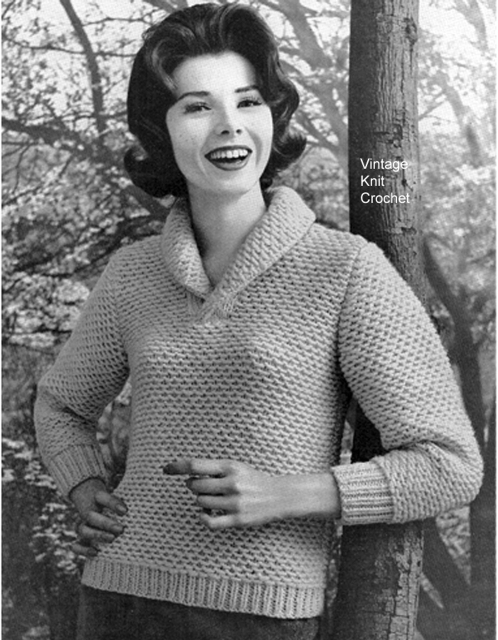 Knitted Honeycomb Sweater Pattern, V-Neck Collar
