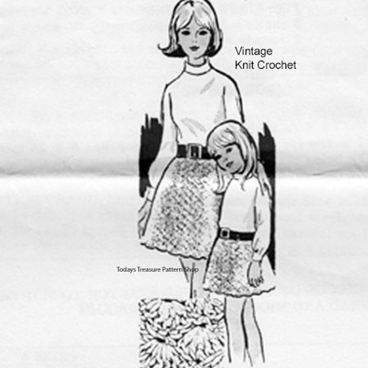 Mother Daughter Skirts Crochet Pattern, Alice Brooks 7032