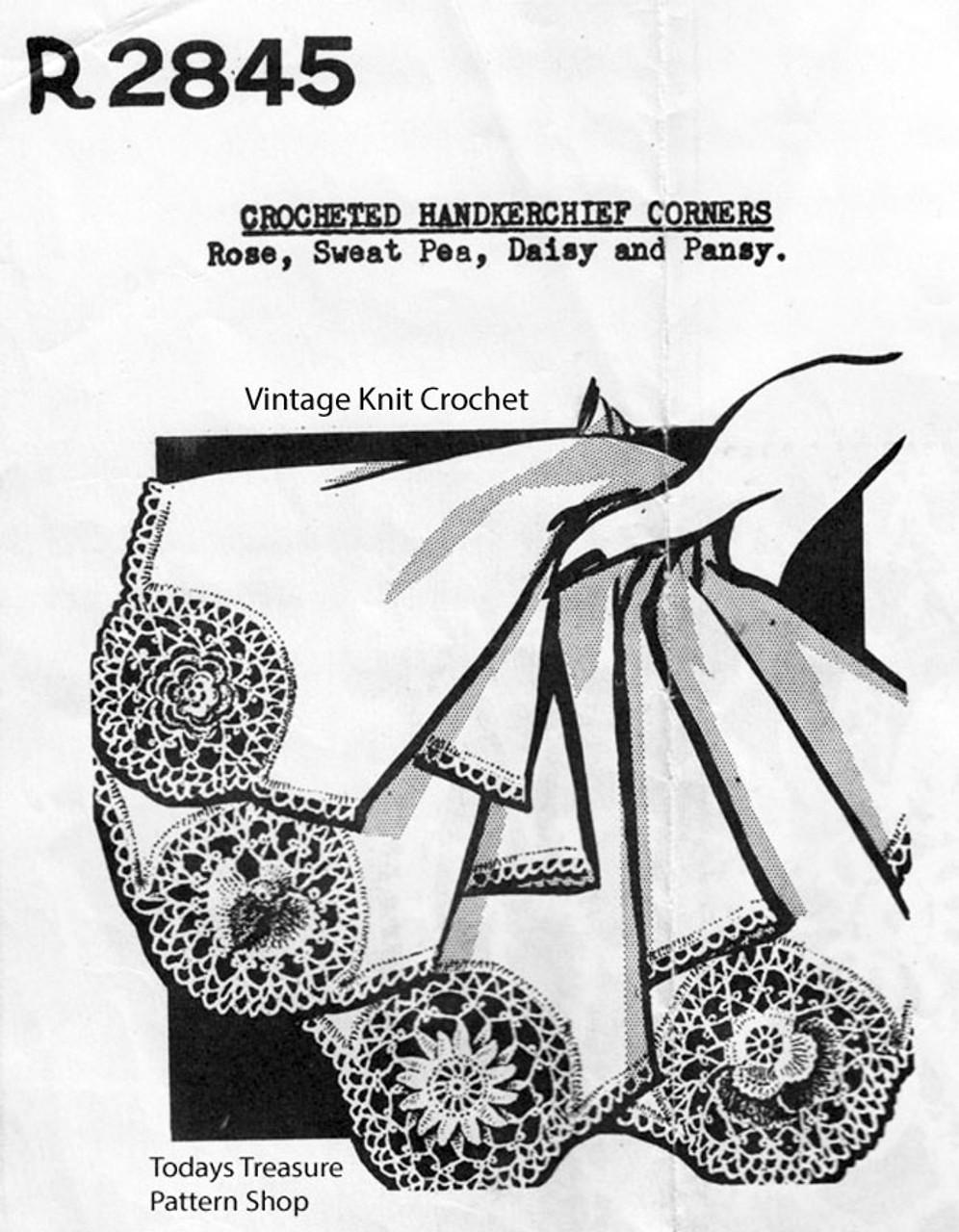 Vintage Crochet Insertion Edgings Pattern, Peggy Roberts R-2845