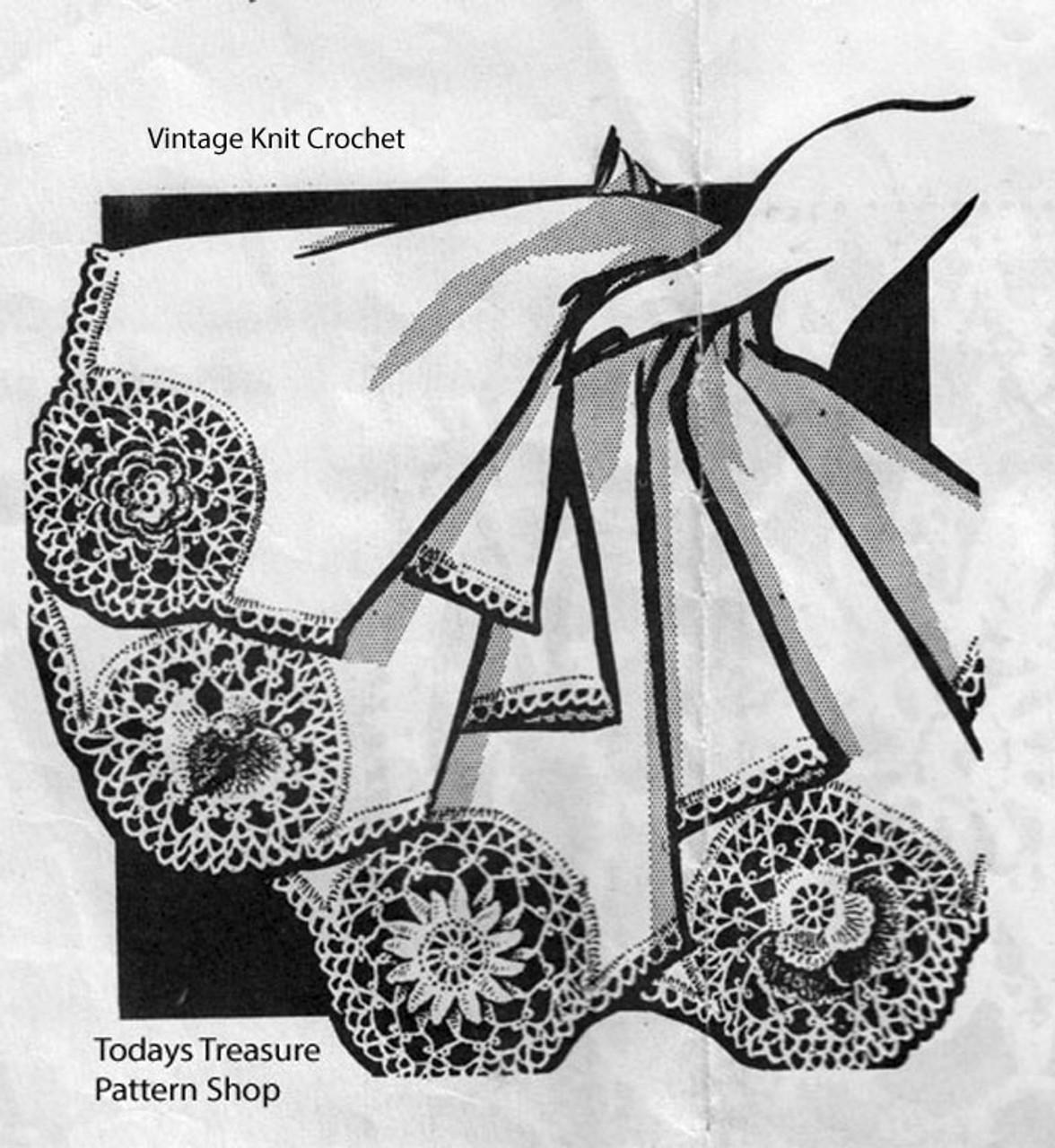 Crochet Flower Insertions Pattern, Needlework Arts R-2845