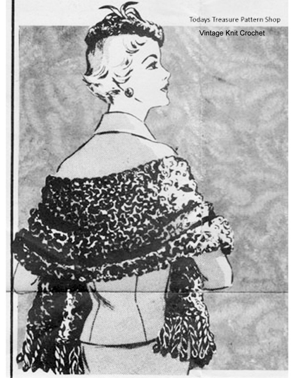 Faux Fur Crochet Stole  Beret Pattern, Carol Curtis 623