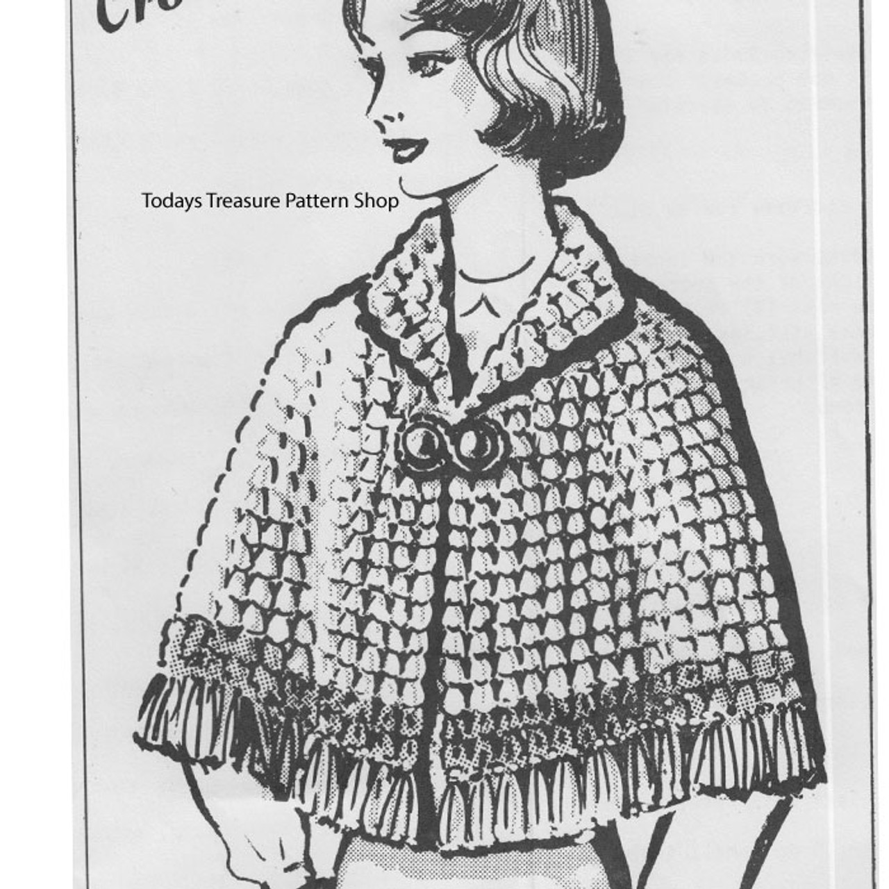 Anne Cabots 5946, Crochet Fringed Cape Pattern