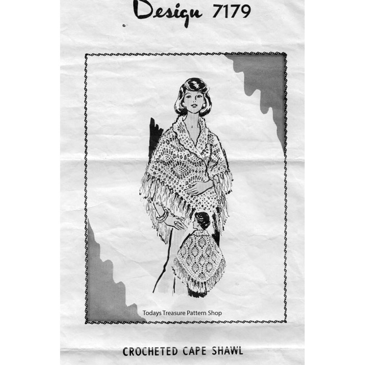Mail Order Design 7179, Crochet Poncho Cape Pattern