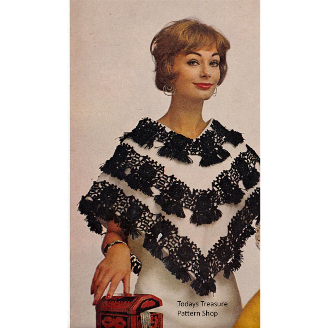 Vintage 1960s Tasseled Poncho Pattern
