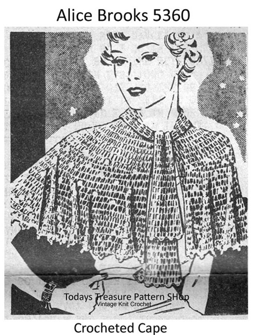 Vintage Crochet Lace Capelet Pattern, Mail Order 5360