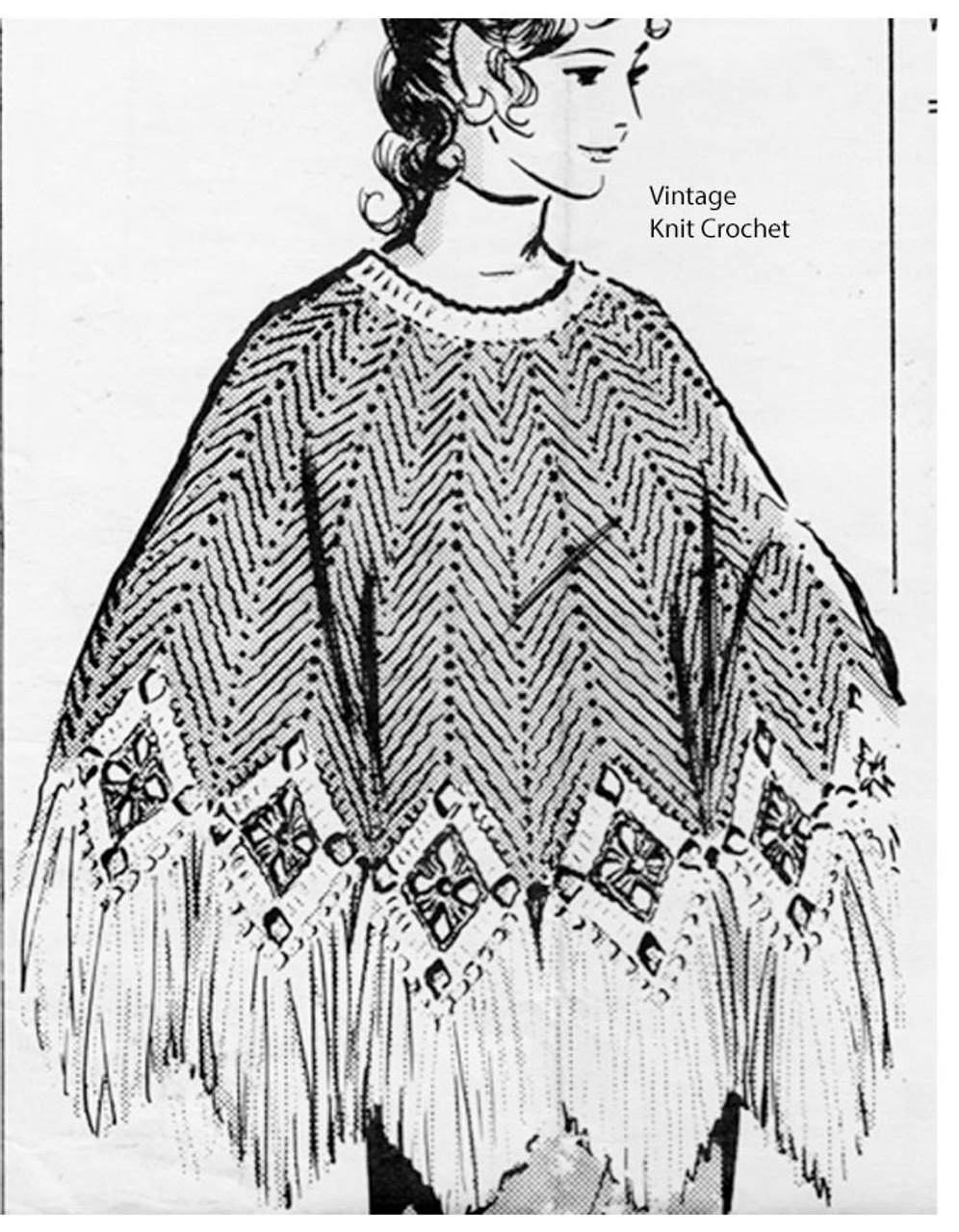 Long Ripple Poncho Crochet Pattern, Anne Cabot 5517