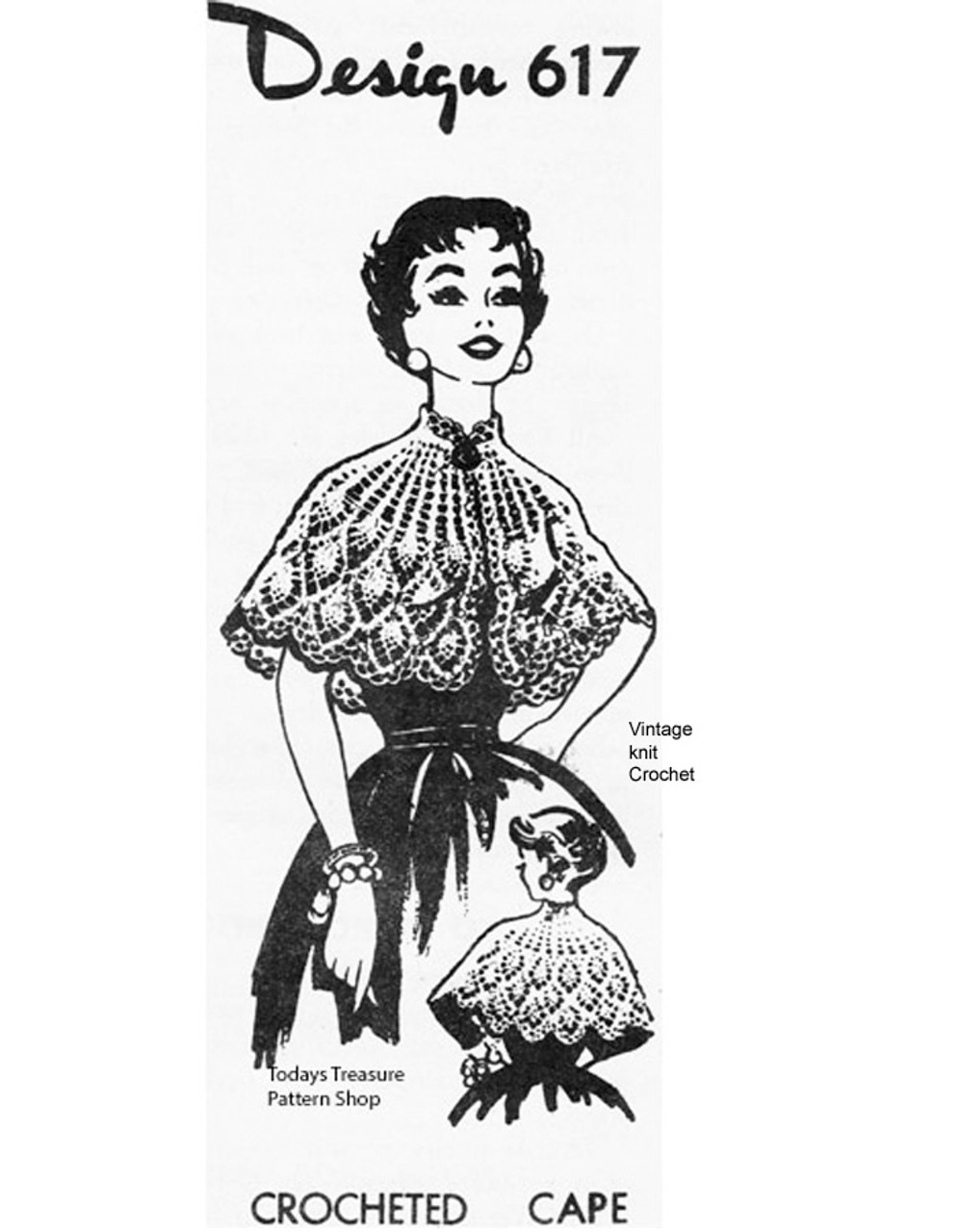 Crochet Pineapple Capelet Pattern Mail Order 617