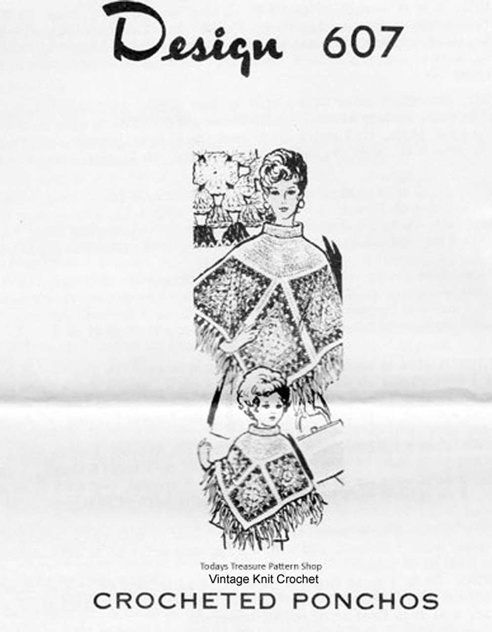 Triangle Square Poncho Pattern, Mother Daughter, Mail Order 607