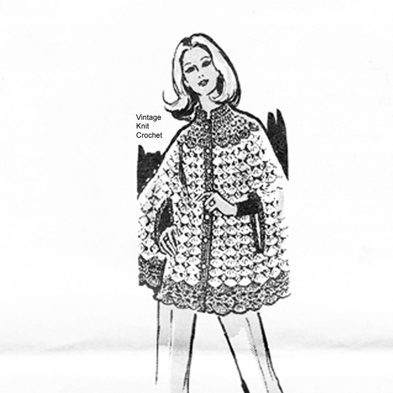 Long Crocheted Cape Pattern, Contrast Yoke, Laura Wheeler 645