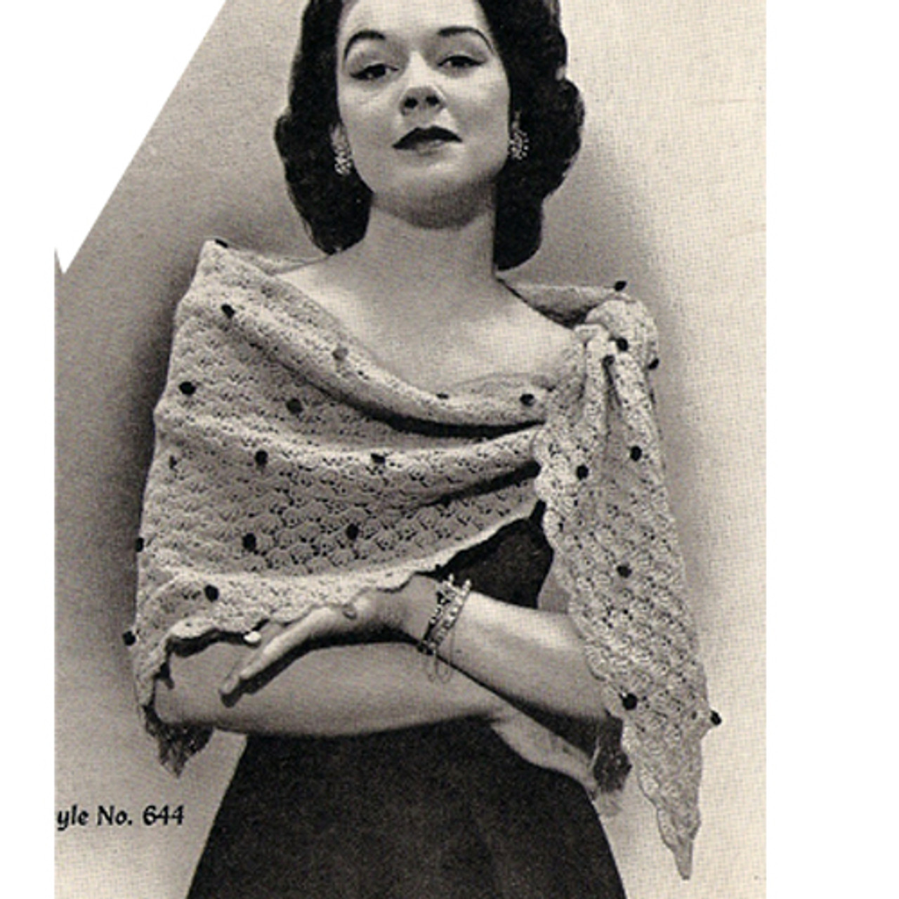 Vintage Crochet Triangle Stole Pattern in Featherlaine