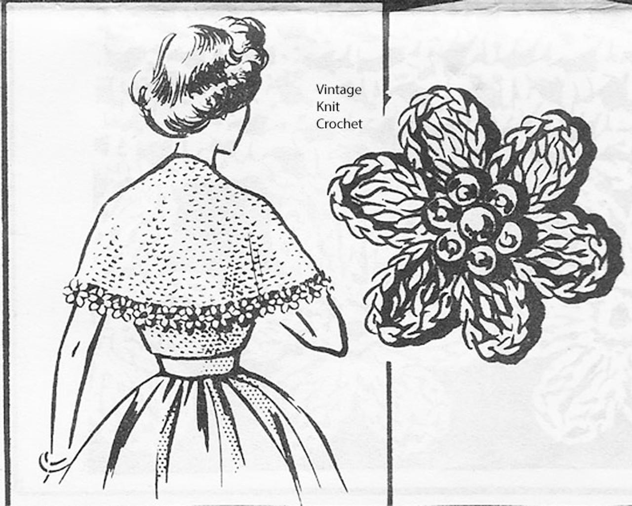 Crochet Flower Trim Stole Pattern No 2227