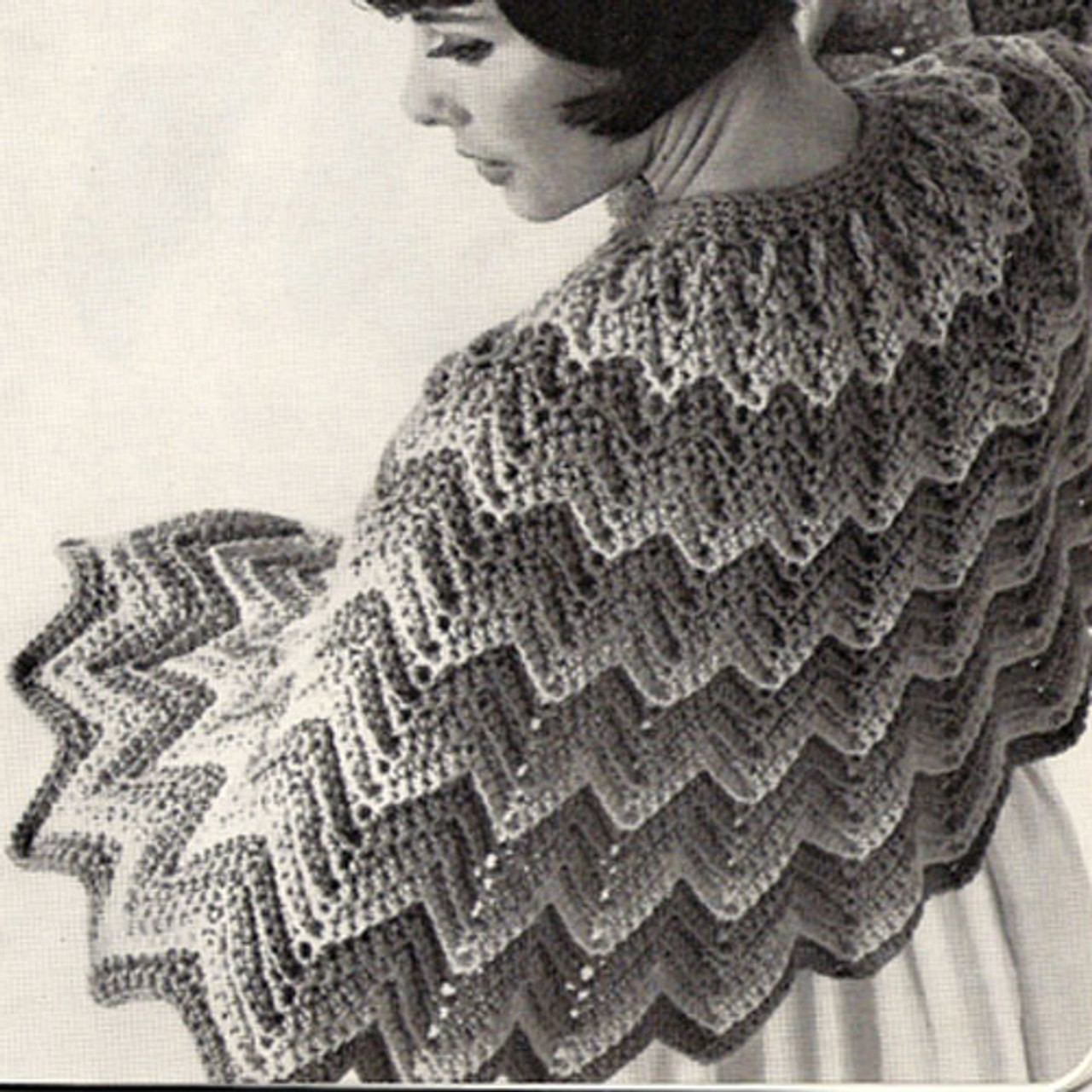 Rippled Cape Crochet Pattern, Vintage 1960s