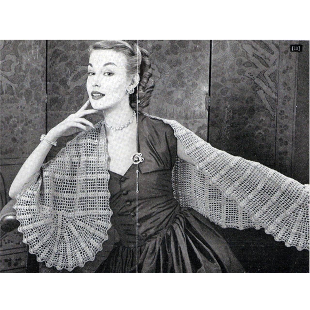 Botany Crocheted Stole Pattern, Vintage 1950s