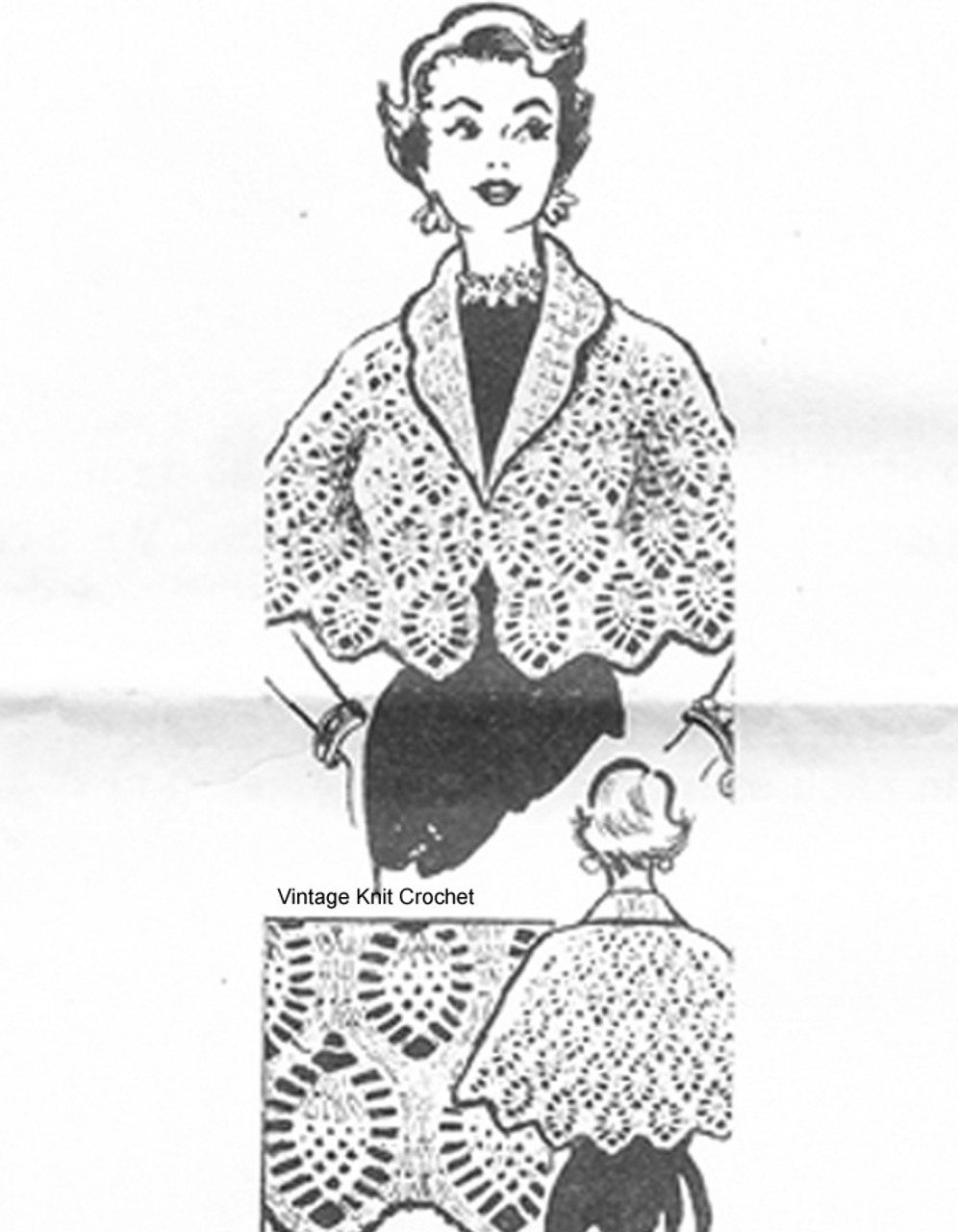 Mail Order Crochet Cape Pattern, Pineapple Stitch, No 7249