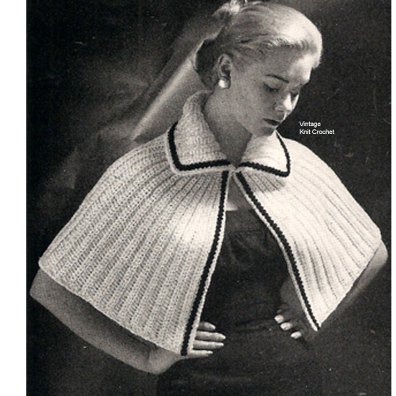 Easy Crochet Caplet Pattern, Trimmed Collar