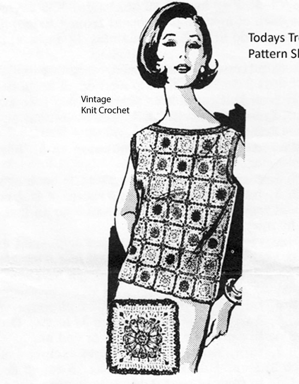 Crocheted Shell Pattern, Granny Block, Design 7225