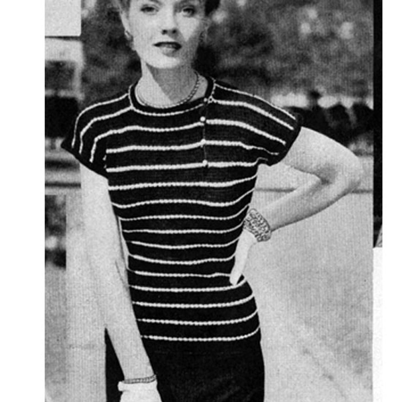 Vintage Crochet Pattern, Sleeveless Striped Blouse
