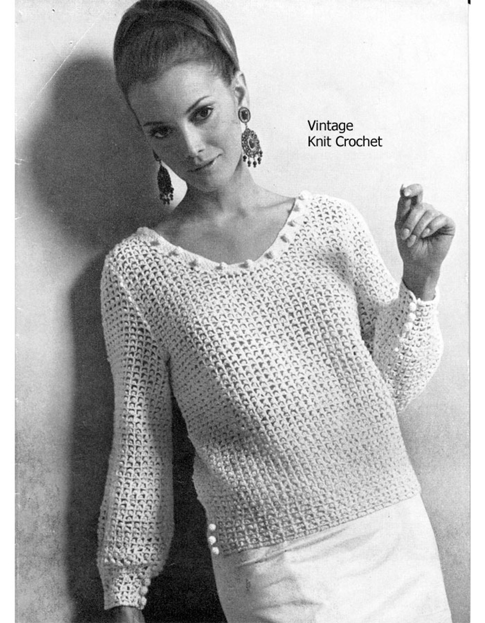 Crochet Jumper Pattern, Picot Blouse