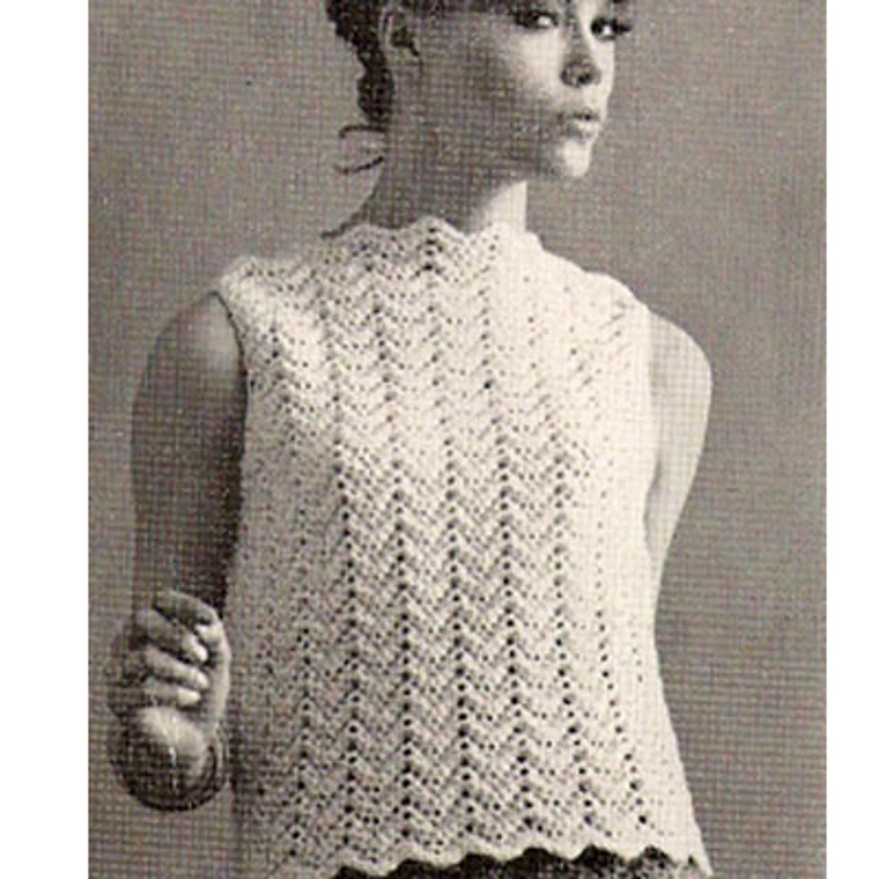 Crochet Sleeveless Blouse Pattern, Vintage 1960s