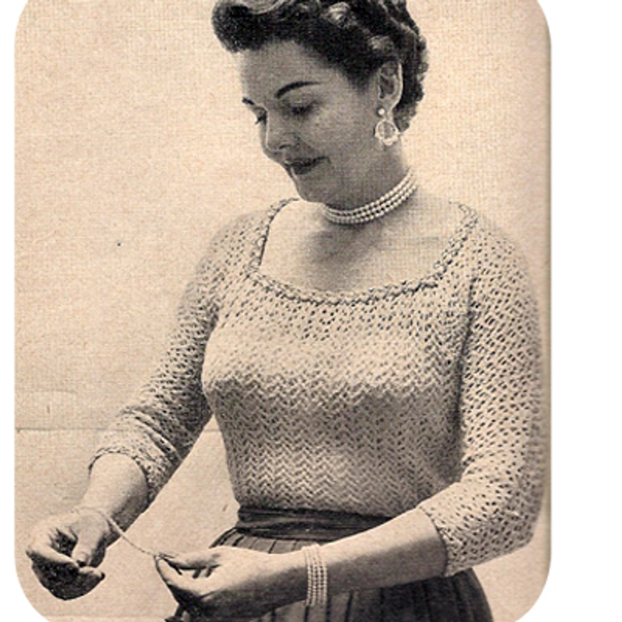 Plus Size Knitted Blouse Pattern, Vintage 1950s