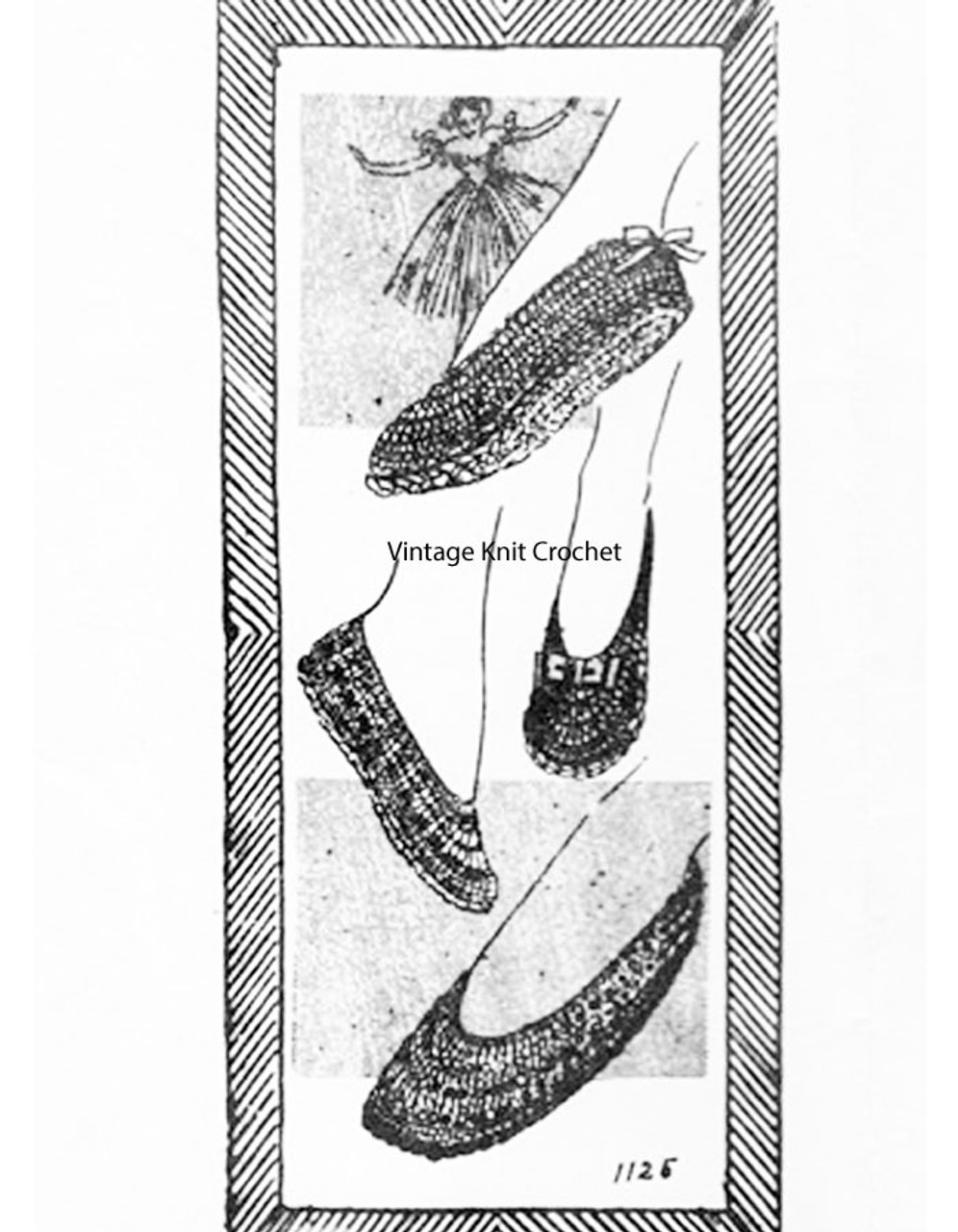 Vintage Crocheted Slippers Pattern No. 1125