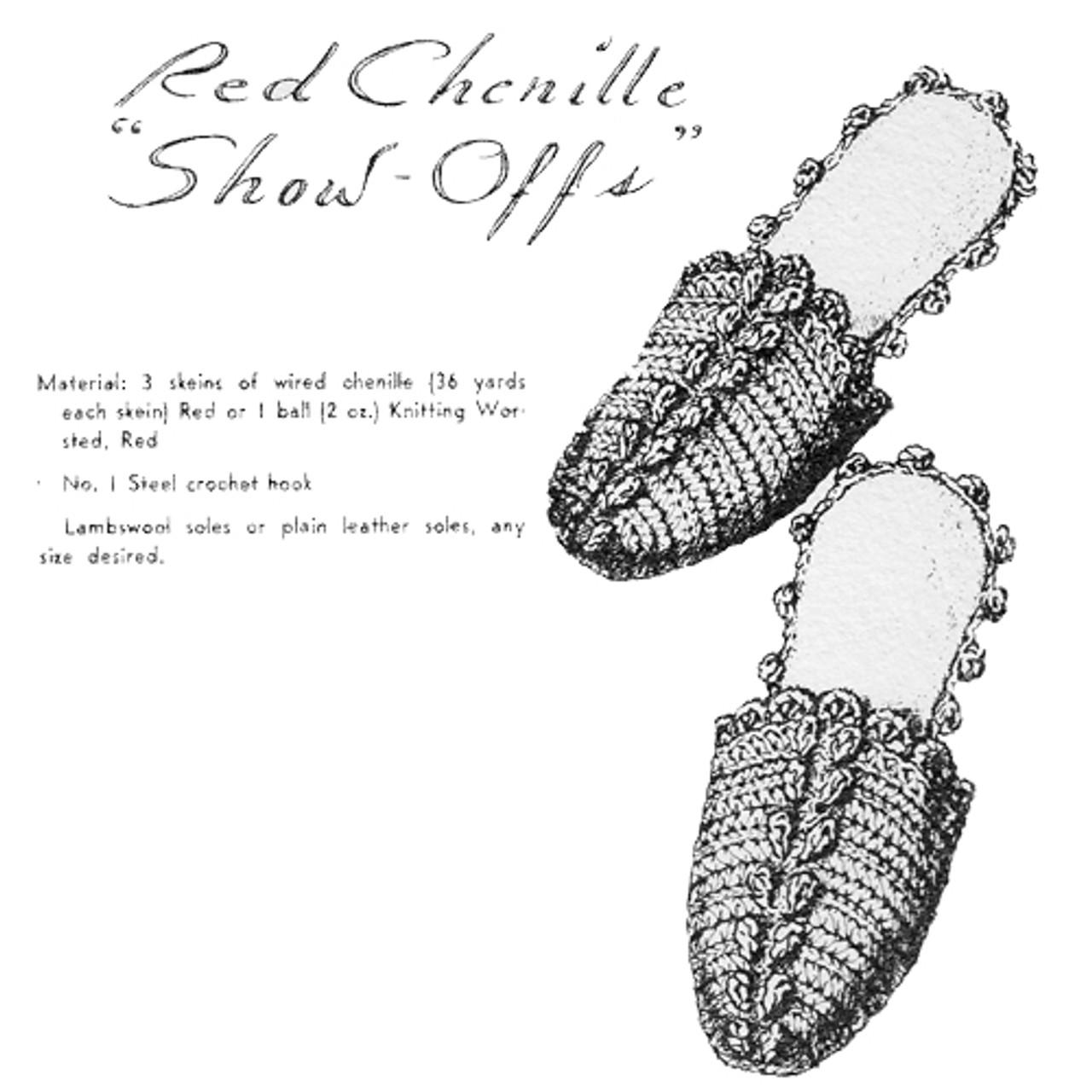 Free Crochet Slippers Pattern from Vintage Knit Crochet Pattern Shop