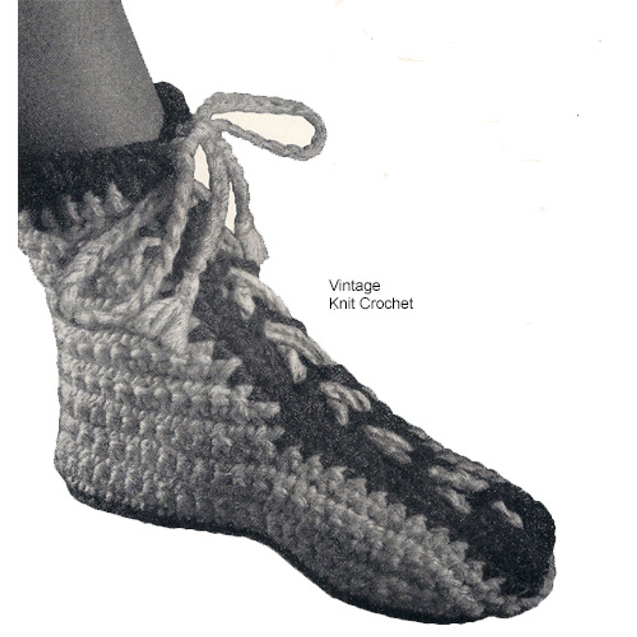 Easy Crochet High Top Slippers Pattern, Laced