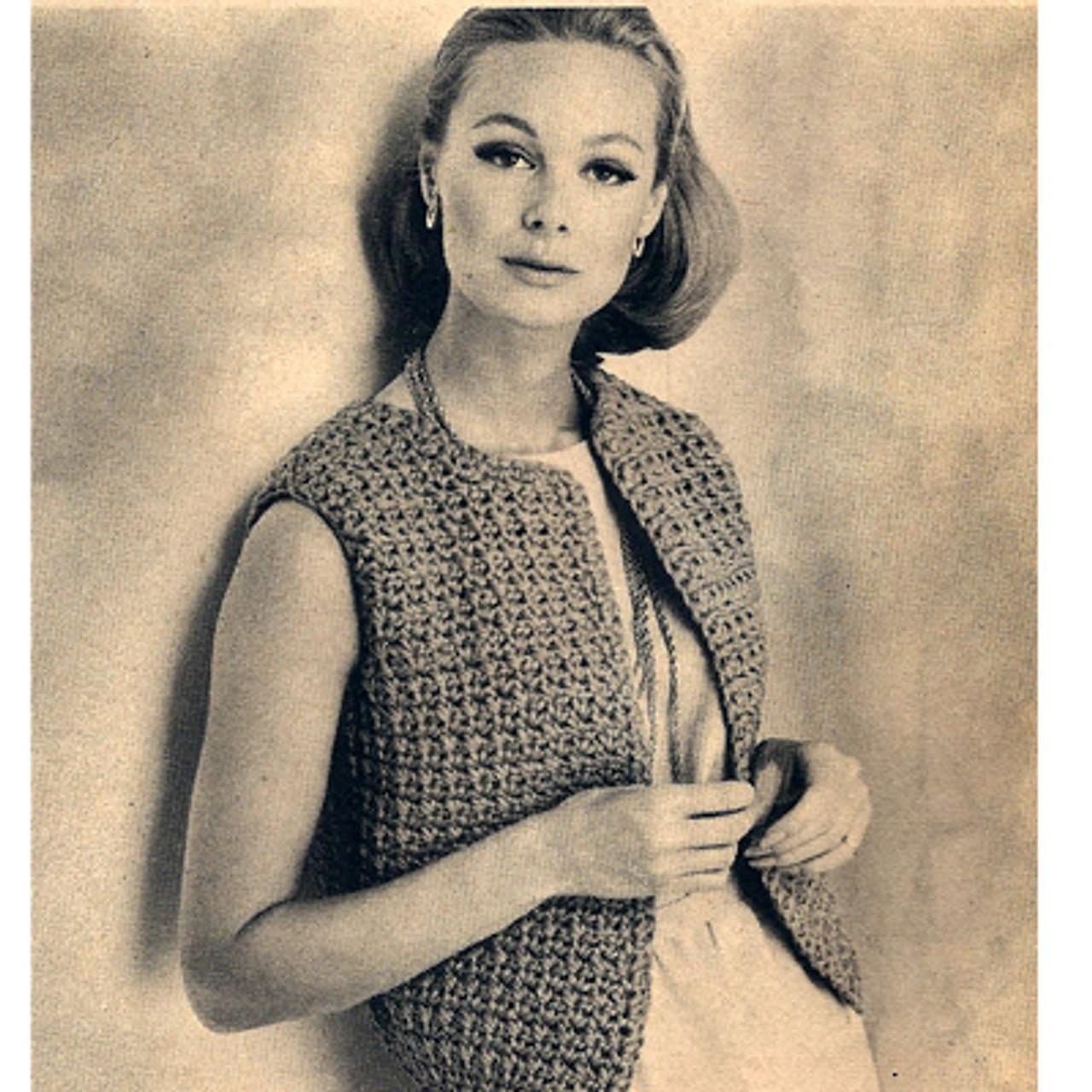Easy Crochet Vest Pattern, Vintage 1960s