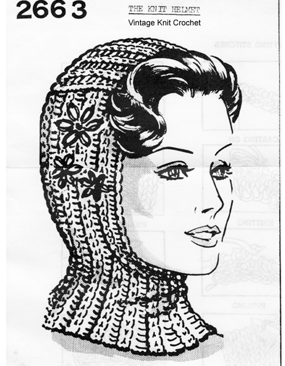 Knitted Helmet Pattern, Anne Cabot 2663