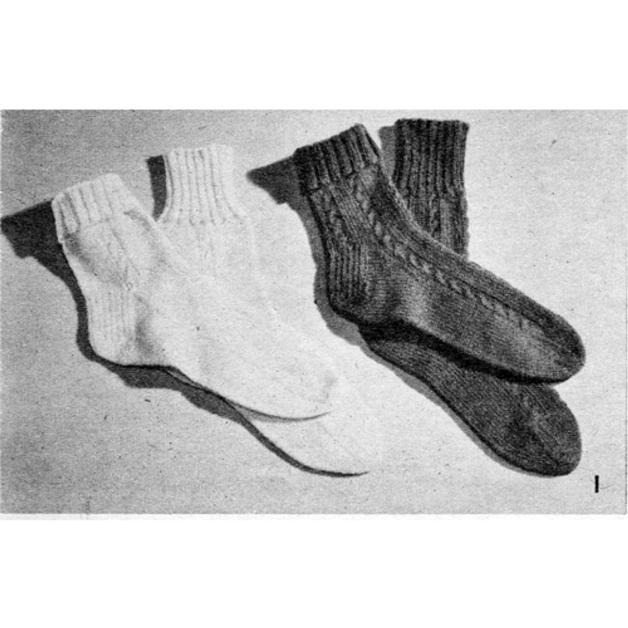Knitting Pattern Ankle Socks Vintage 1950s