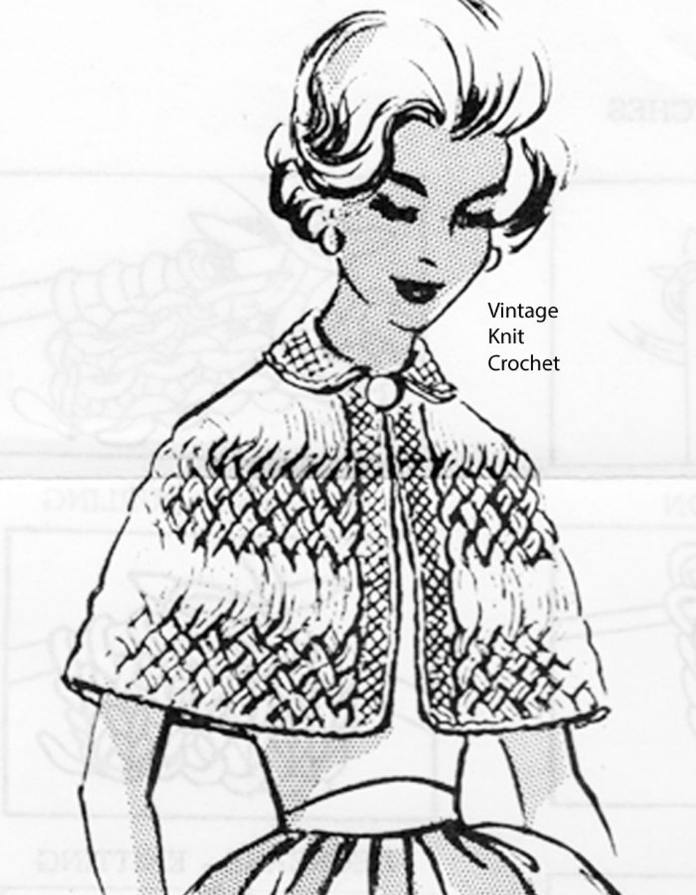 Cable capelet knitting pattern, Mail Order 2667