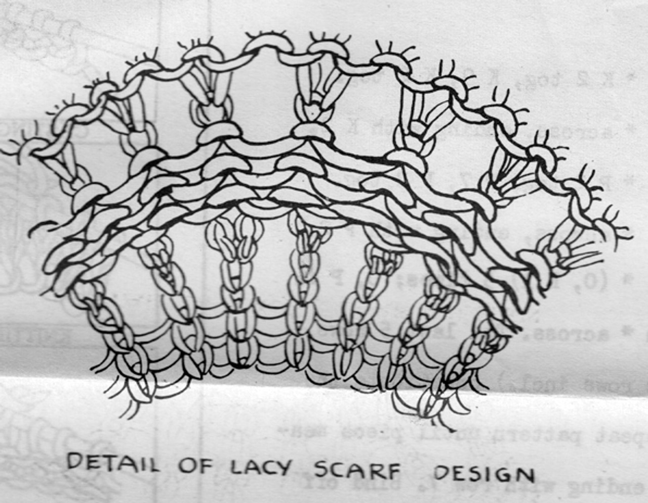 Knitted Lace Pattern Illustration for Stole