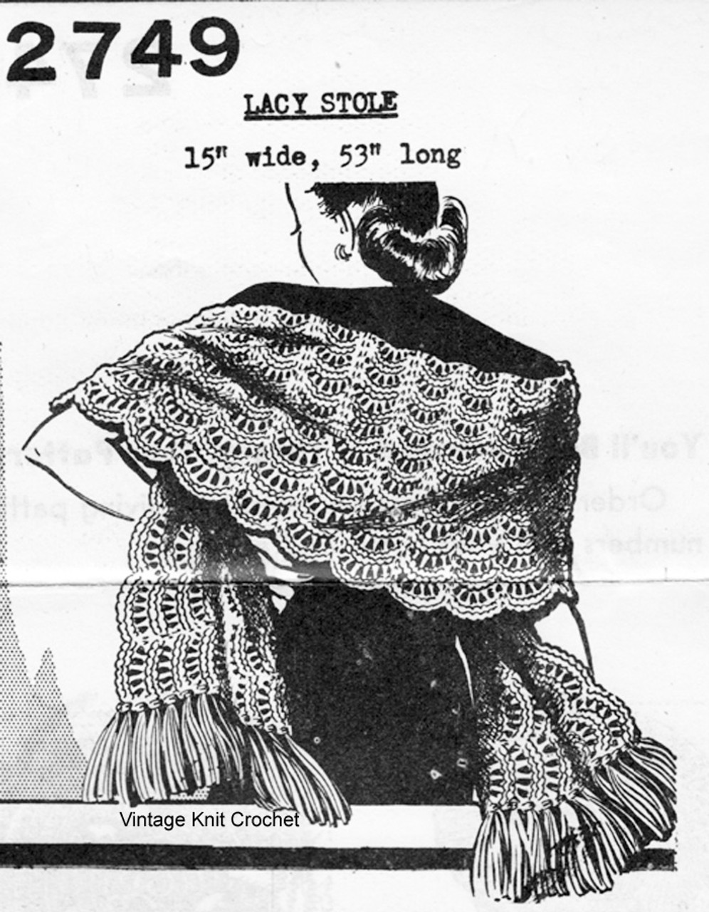 Big Needle Knitted Stole Pattern, Mail Order 2749