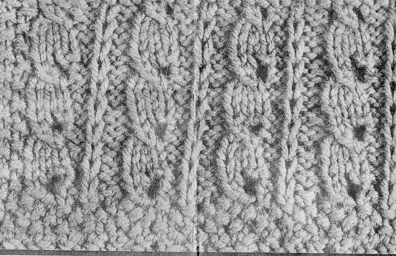 Knitted Cable Shawl Pattern Illustration for Mail Order 989