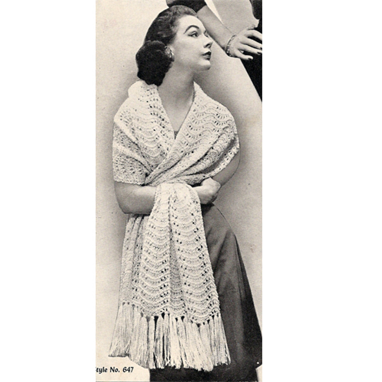 Vintage Feather Fan Stole Knitting Pattern