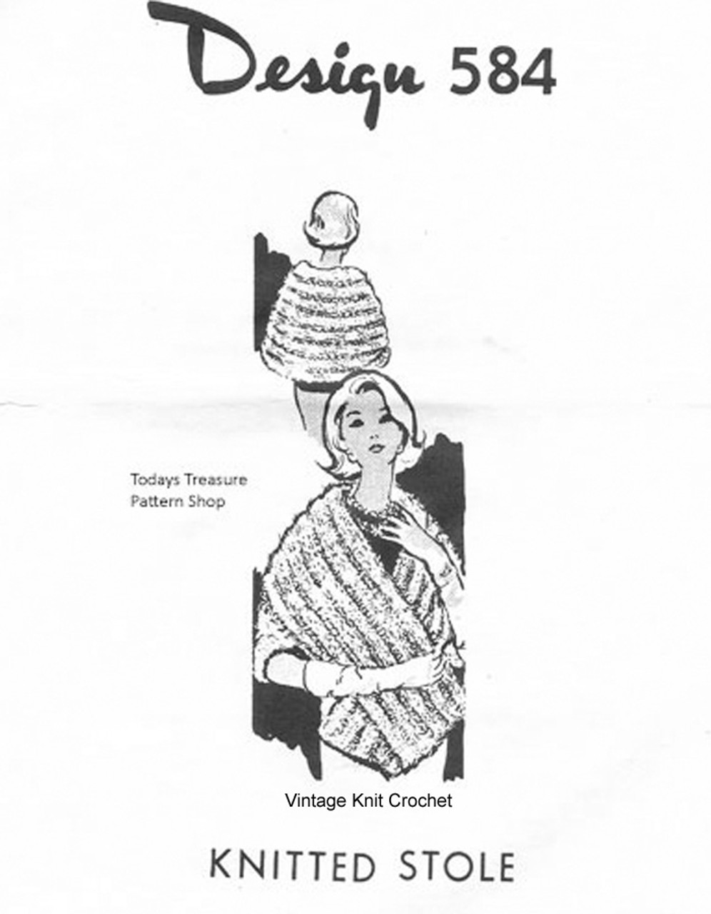Knitted Mink Stole Pattern, Mail Order 584