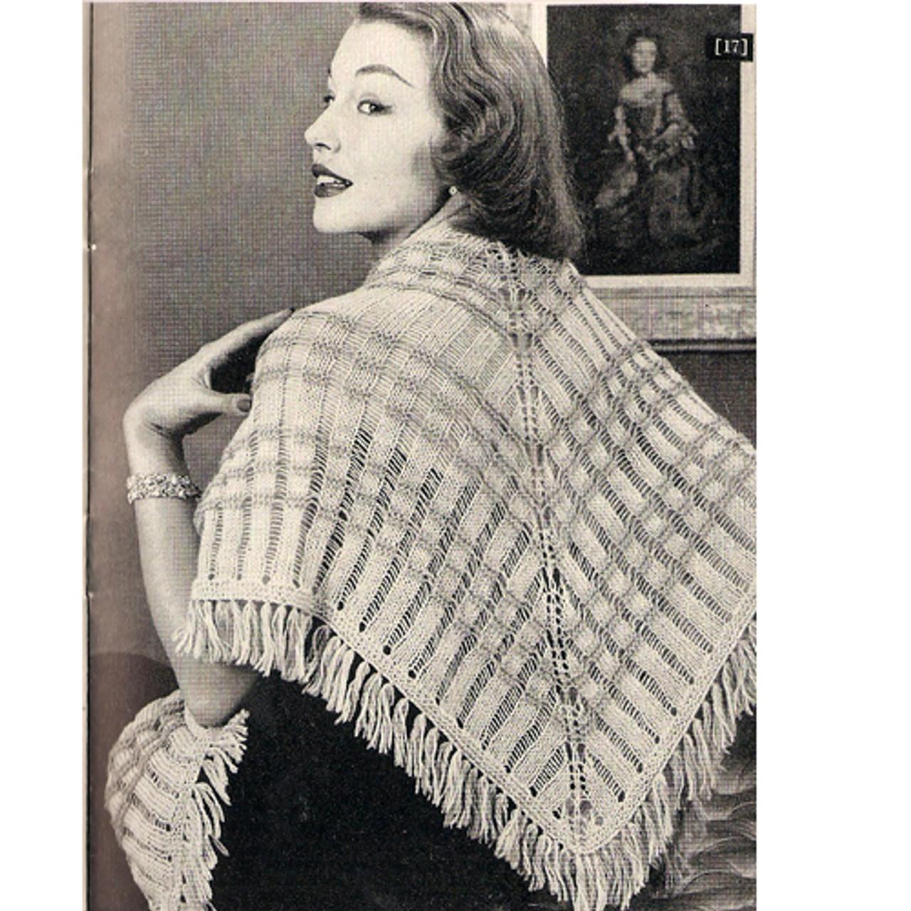 Knitted Triangular Stole Pattern, Vintage 1950s
