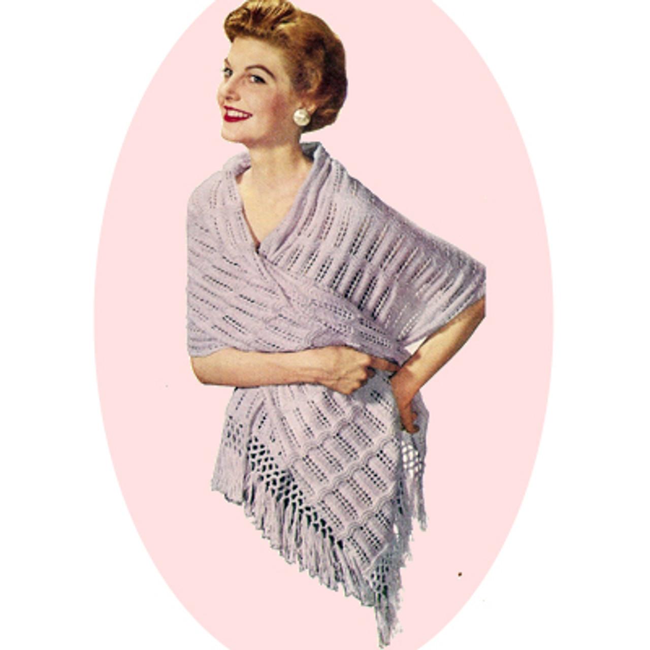 Fringed Stole Knitting Pattern, Vintage 1960s