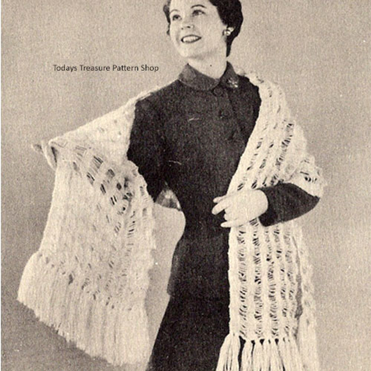 Vintage Shawl Knitting Pattern with Fringe