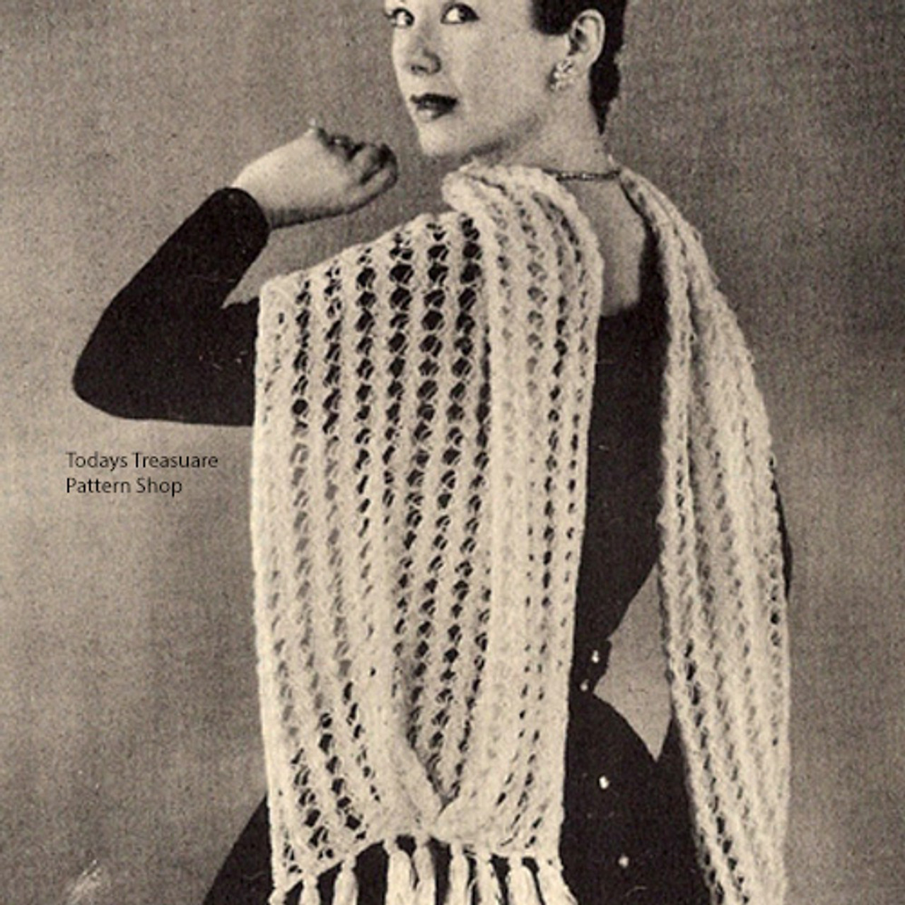 Vintage Lace Knitted Stole Pattern Wyco 132