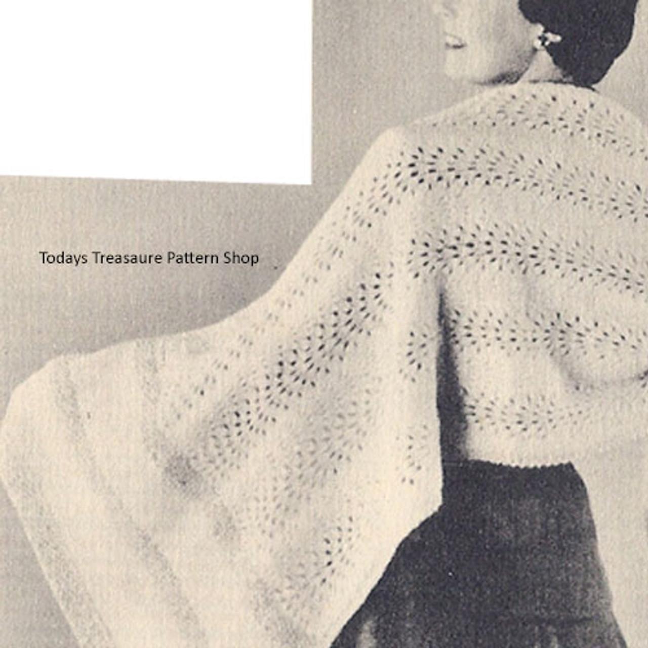 Metallic Knitted Stole Pattern, Vintage 1950s