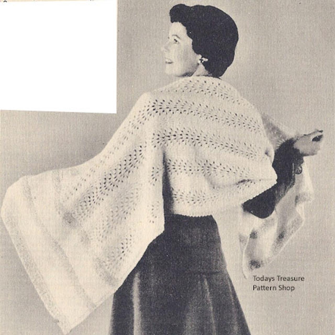 Vintage Stole Pattern Knit with Metallic Threads