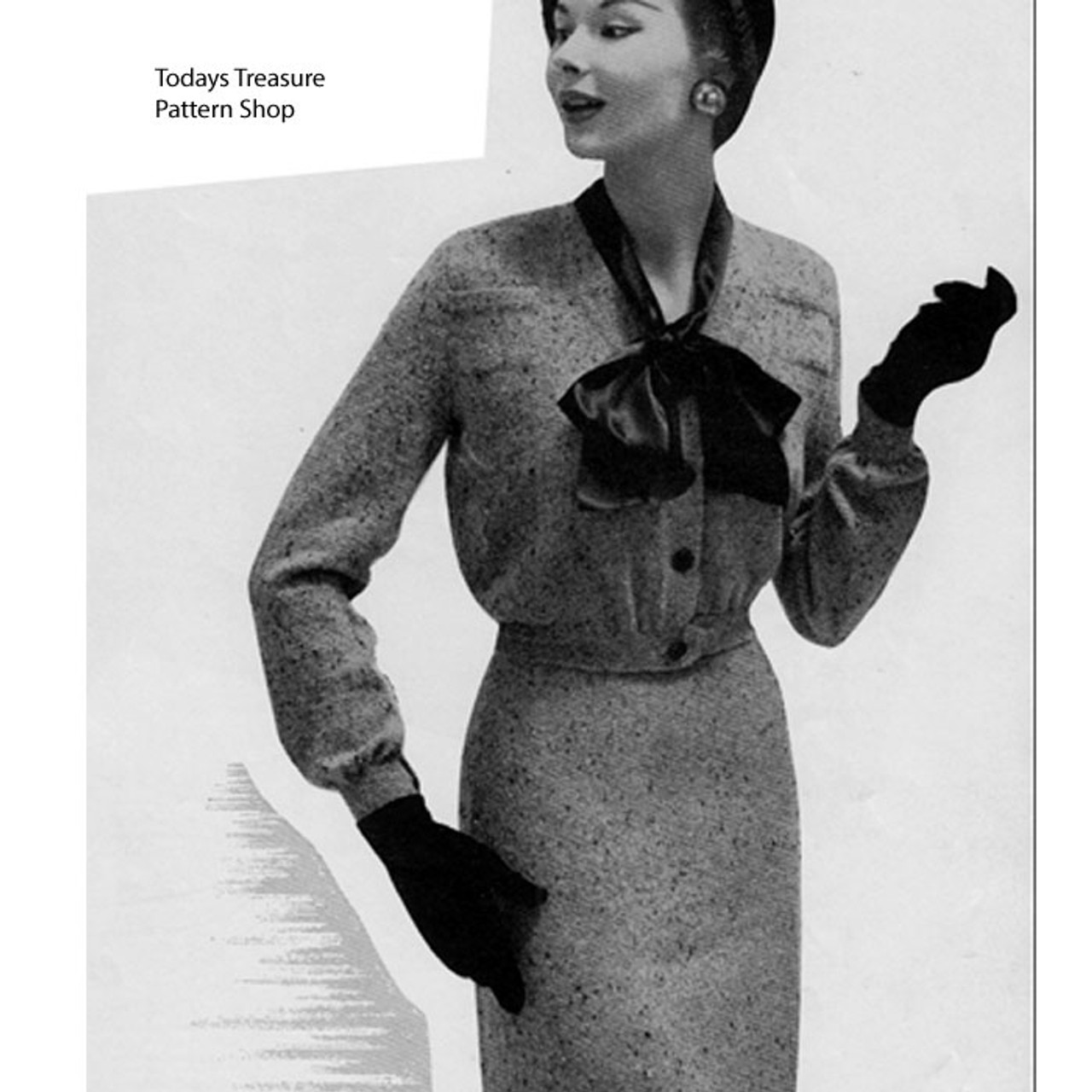 Two Piece Knitted Suit Pattern, Vintage 1940s