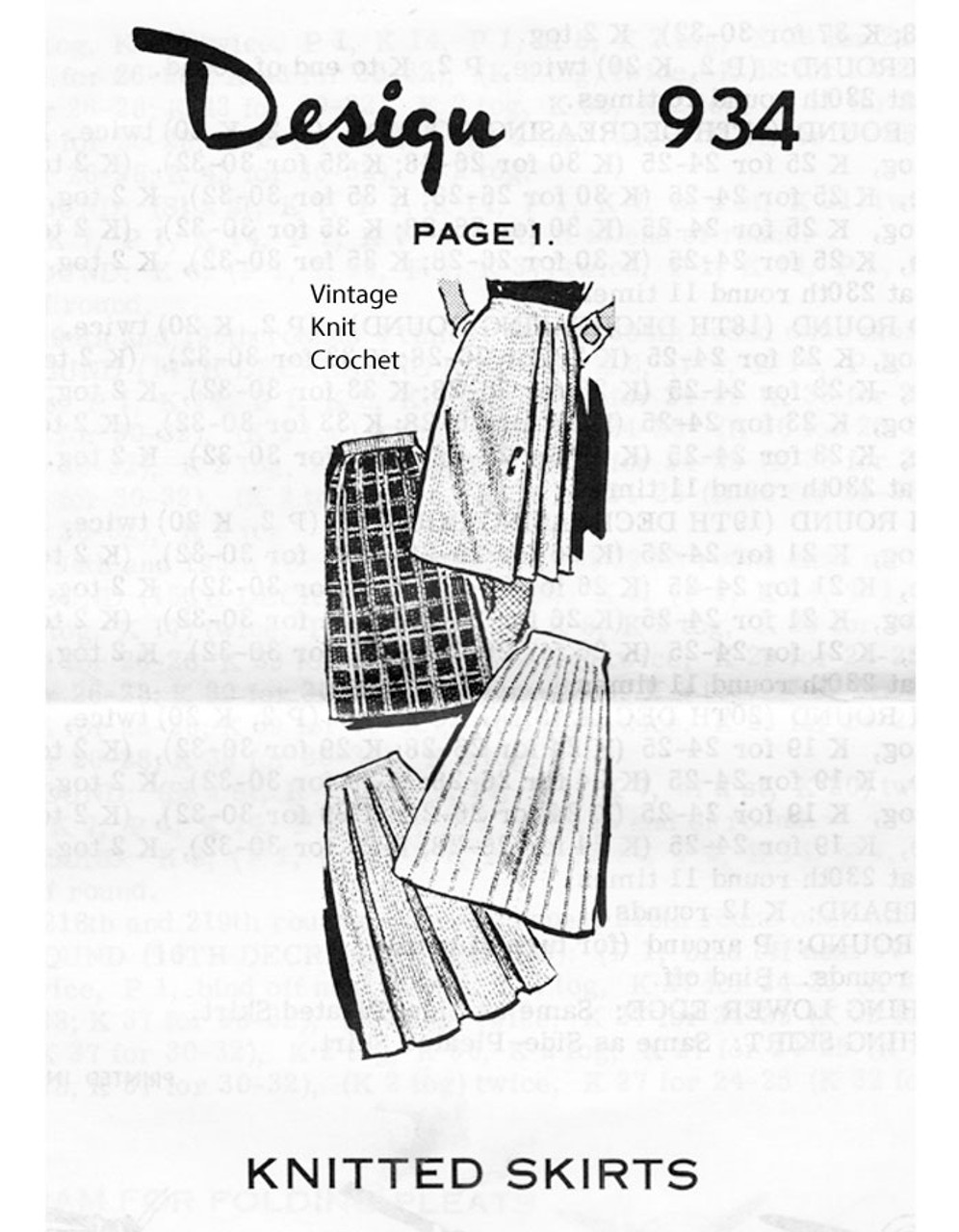 Mail Order Knitted Skirts Pattern, Laura Wheeler 937