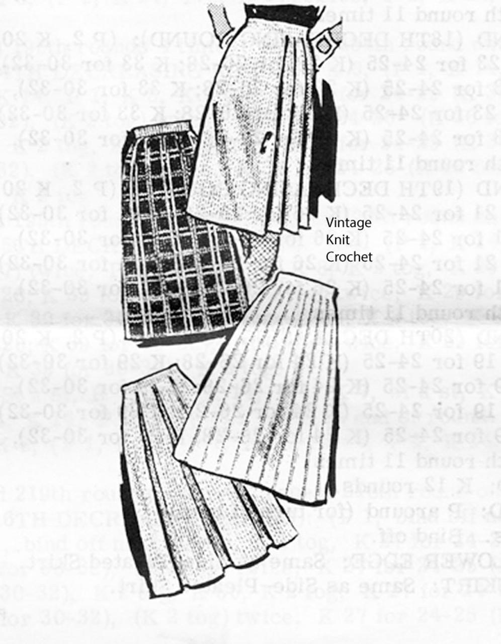 Knit Pleated Skirt Pattern in sports yarn, Laura wheeler 937
