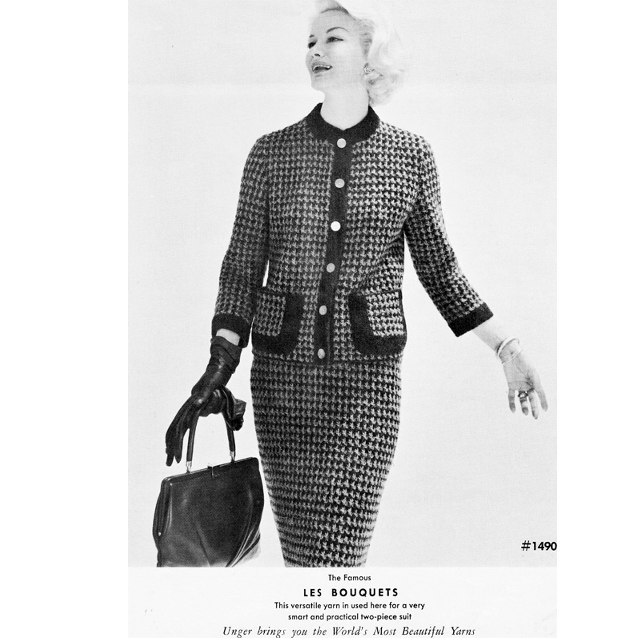 Vintage Knitting Pattern Jackie O Checked Suit