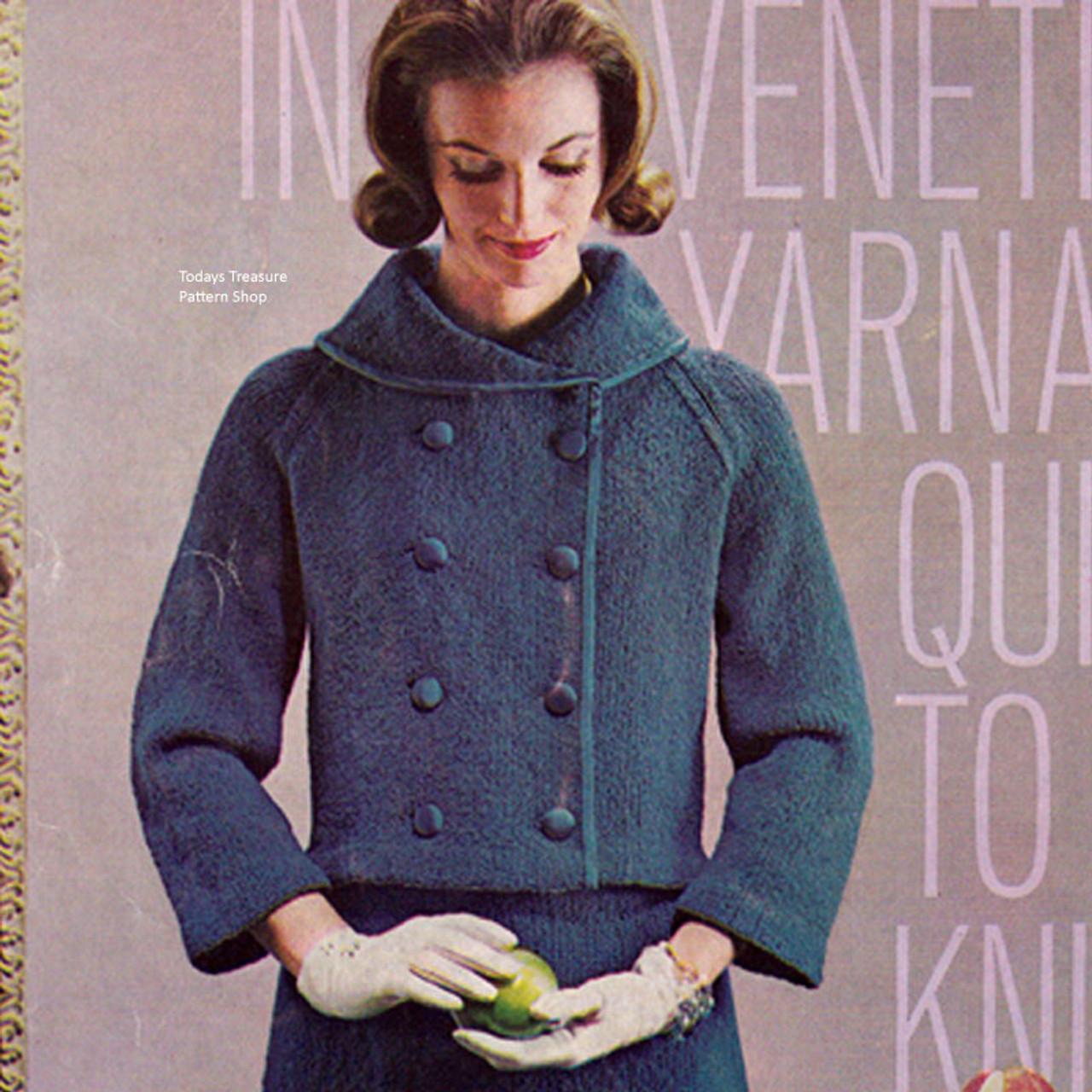 Double Breasted Jacket Knitting Pattern in Bernat Ventian