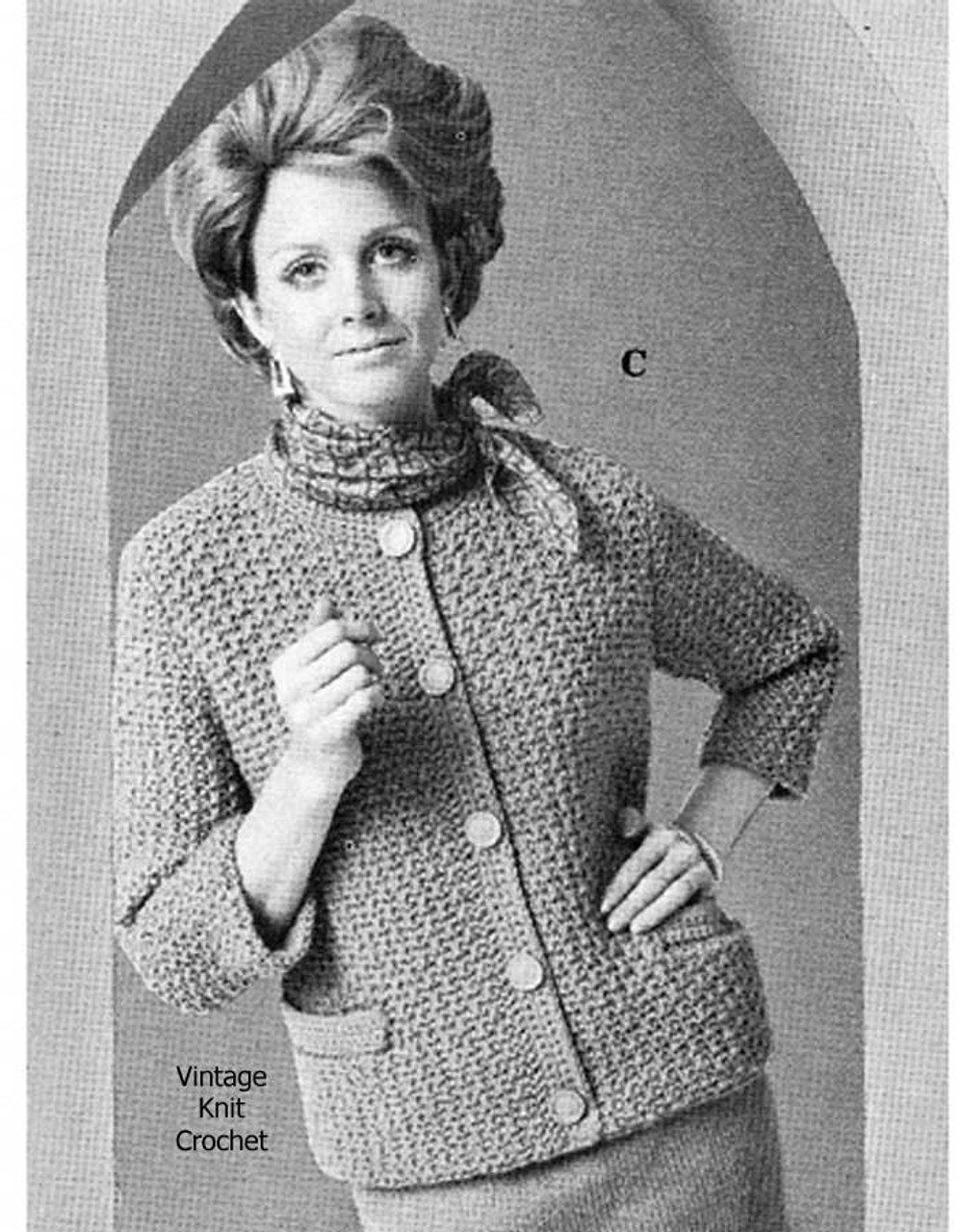 Vintage Knitted Cardigan Pattern, Skirt Suit 1950s