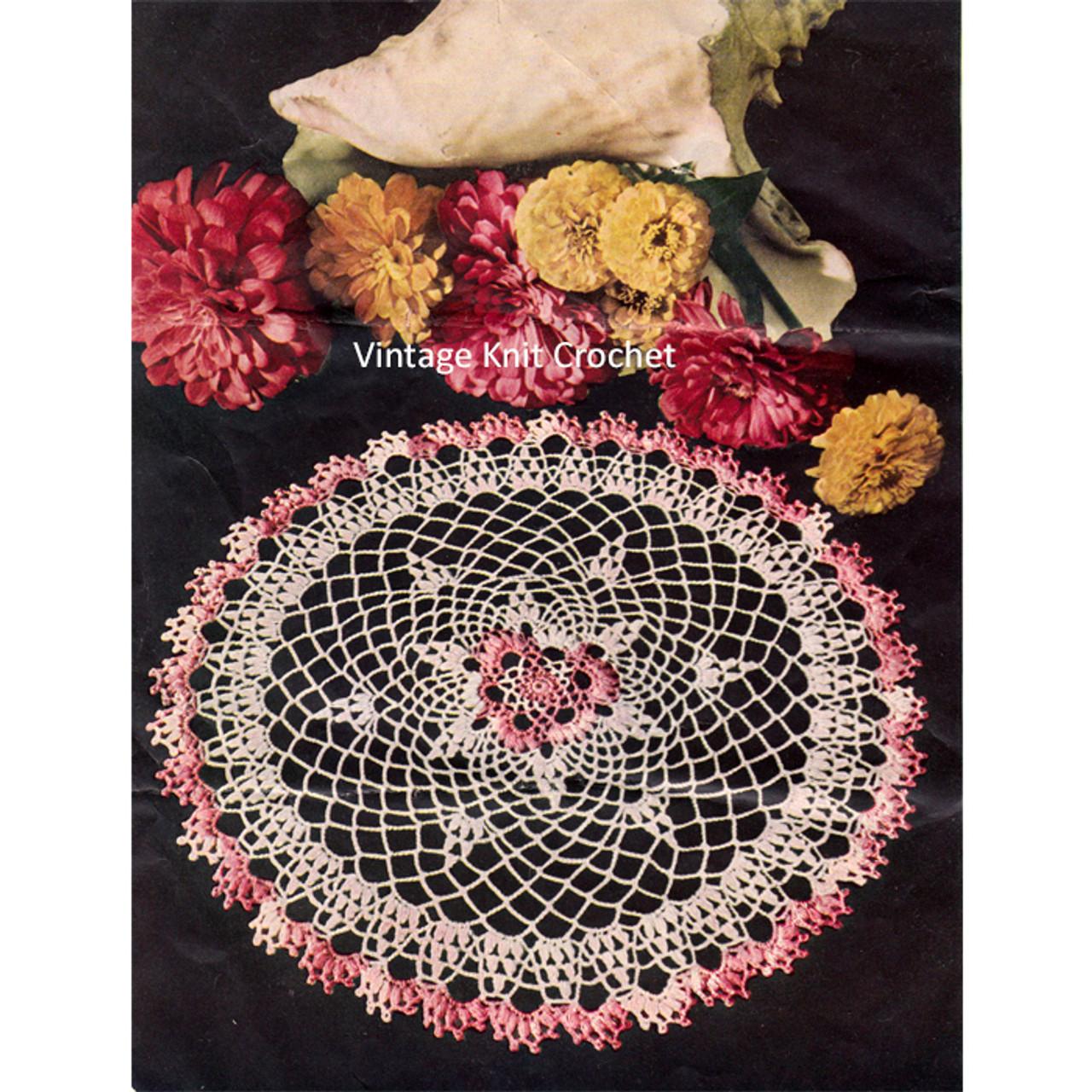 Crochet Pink white doily pattern